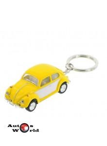 Breloc Volkswagen Beetle galben 1967, 1:64 Kinsmart