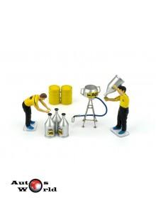 Accesorii: Set Benzina, 2 mecanici figurine+ Accesorii, 1:43 Brumm