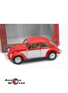 Macheta auto Volkswagen Classic Beetle rosu/alb 1967, 1:24 Kinsmart