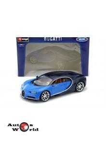 Macheta auto Bugatti Chiron albastru 2016, 1:18 Bburago