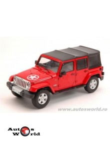 Jeep wrangler 4-doors unlimited soft top 'freedom edition' rosu 2015, 1:43 Greenlight