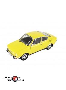 Macheta auto Skoda 110R coupe 1980 galben, 1:18 Abrex