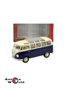 Macheta auto Volkswagen Samba bus albastru 1962, 1:24 Kinsmart