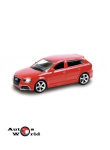 Macheta auto Audi RS3 Sportpack rosu 4 inch, 1:43 RMZ City