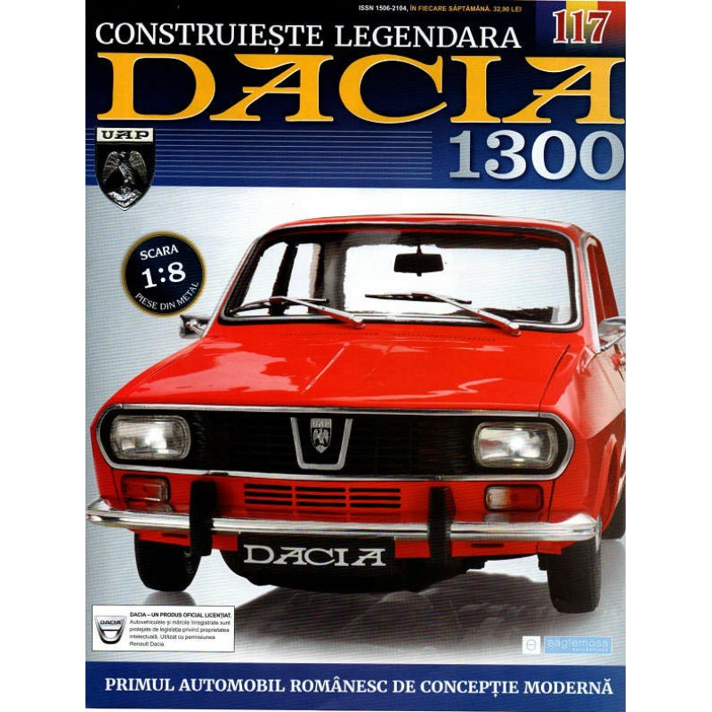 Macheta auto Dacia 1300 KIT Nr.117 - placuta numar spate, scara 1:8 Eaglemoss