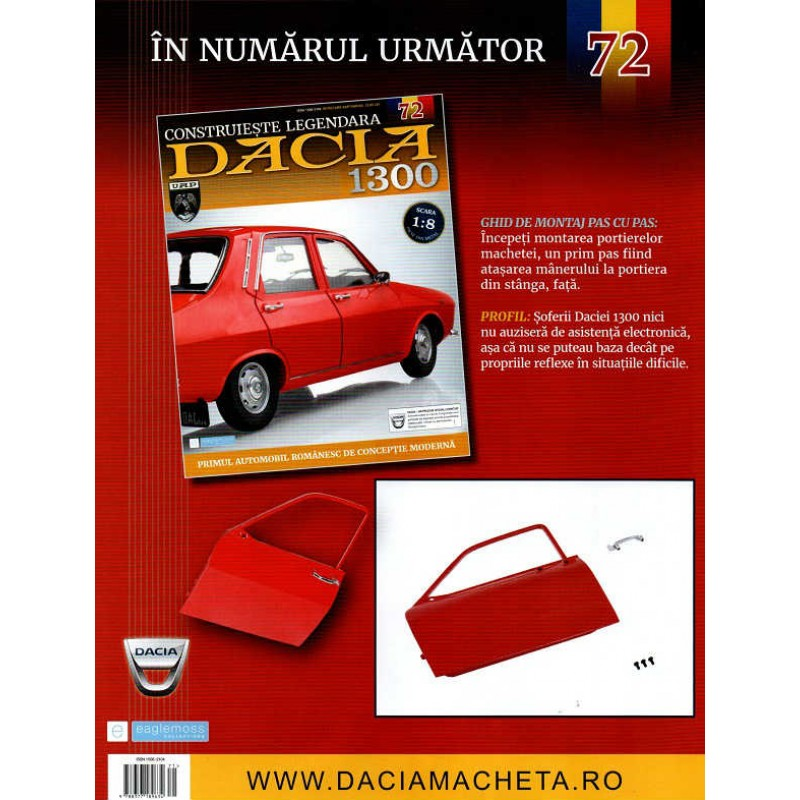 Macheta auto Dacia 1300 KIT Nr.71 - lumini portiera, scara 1:8 Eaglemoss