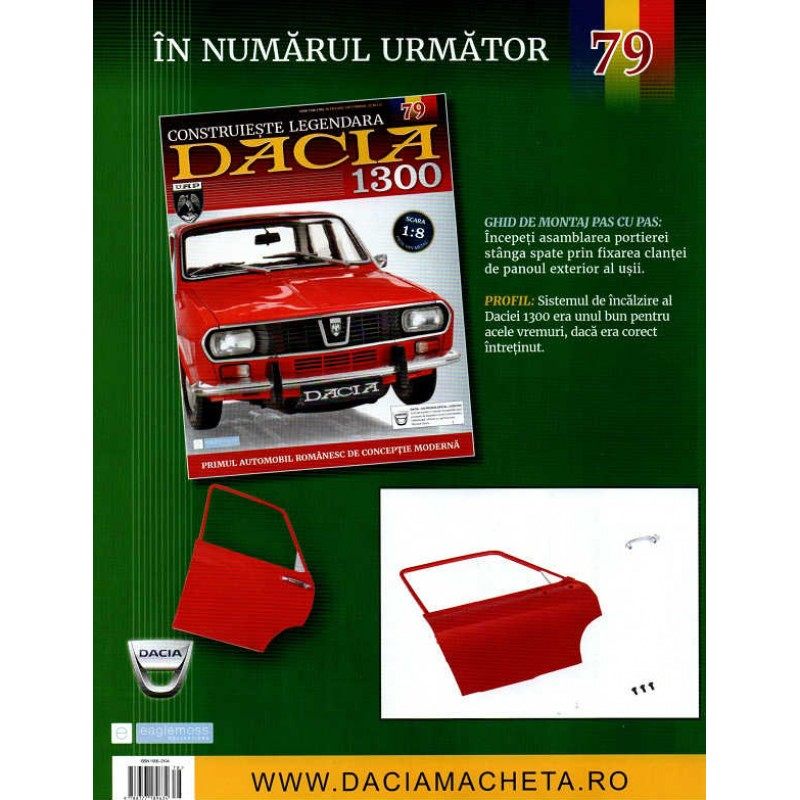 Macheta auto Dacia 1300 KIT Nr.78 - elemente portiera part6, scara 1:8 Eaglemoss