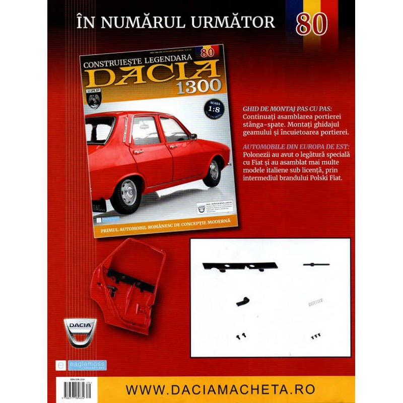 Macheta auto Dacia 1300 KIT Nr.79 - elemente portiera dr part1, scara 1:8 Eaglemoss