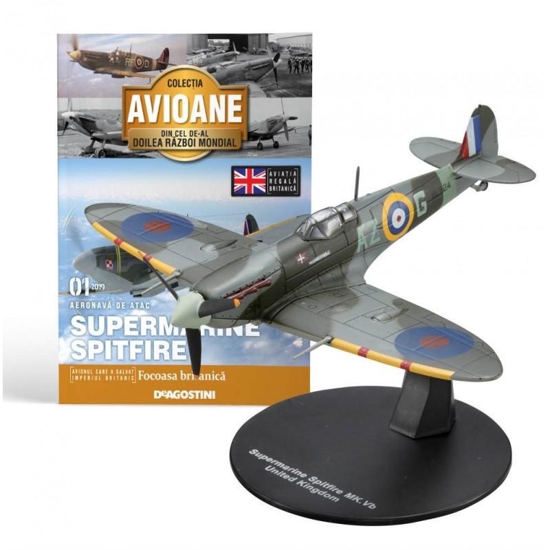 Macheta avion Supermarine Spitfire #01 UK, Deagostini - Colectia Avioane din Cel de-al Doilea Razboi Mondial