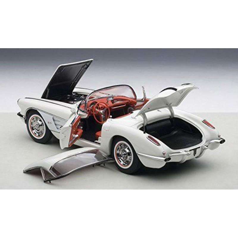 Macheta auto Chevrolet Corvette (1958) alb, 1:18 Autoart