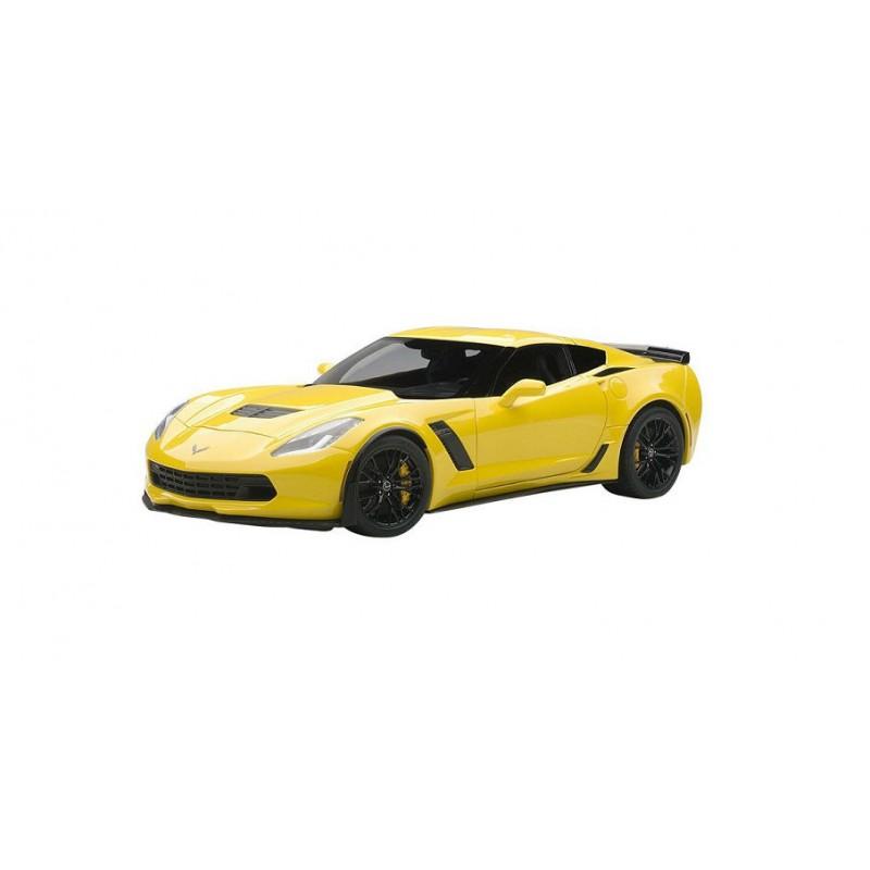 Macheta auto Chevrolet Corvette C7 Z06 (2014) galben, 1:18 Autoart