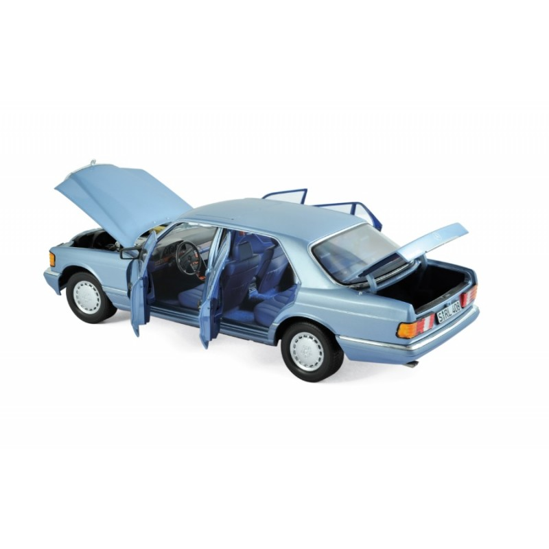 Macheta auto Mercedes Benz S-class 560 SEL (w126) 1991 albastru, 1:18 Norev