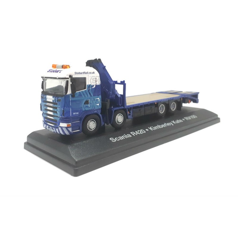 Macheta camion Scania R420 RV100 8x8 cu platforma Stobart 1:76 Oxford - Atlas