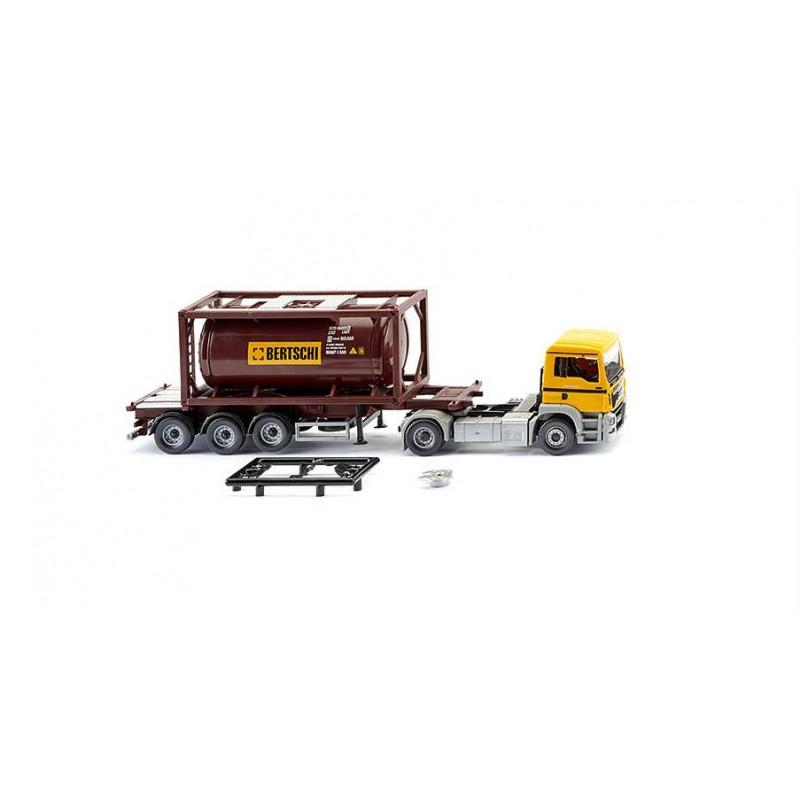 Macheta Camion MAN Euro 6 container benzina Bertschi 2014, 1:87 Wiking