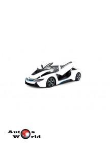 Macheta auto BMW i8 alb/albastru, 1:24 Rastar