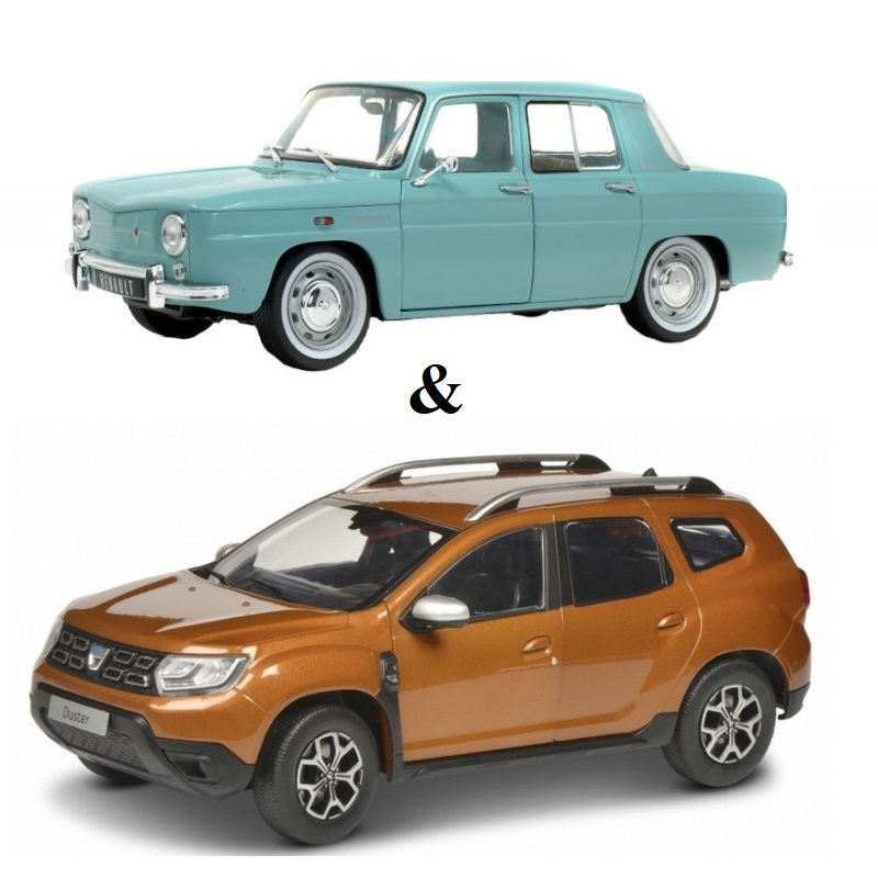 PACK : Macheta auto Dacia Duster 2 maro 2018 + Renault 8 Major 1967, 1:18 Solido