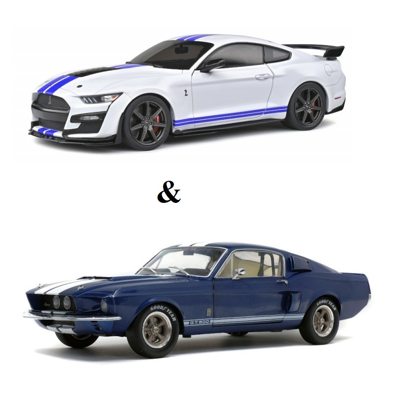 PACK : Macheta auto Ford Mustang GT500 Fast Track alb 2020 + Ford Mustang Shelby GT500 albastru 1967, 1:18 Solido