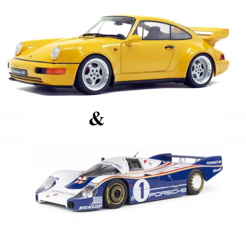 PACK : Macheta auto Porsche 964 TURBO 3,6 galben 1990 + Porsche 956 LH – Winner Le Mans 1982, 1:18 Solido