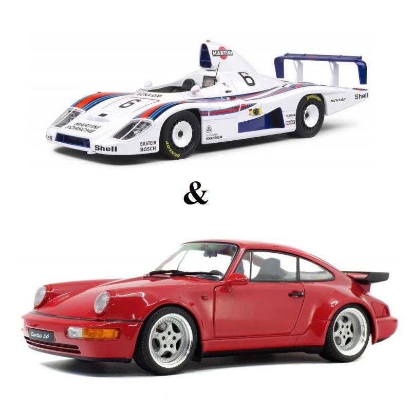 PACK : Macheta auto Porsche 964 3.8 RS rosu 1990 + Porsche 936 24H Le Mans #1 1978, 1:18 Solido