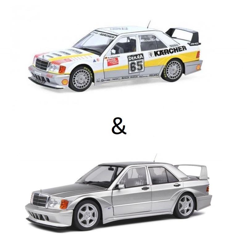 PACK : Macheta auto Mercedes-Benz 190 EVO II (W201) gri 1990 + Mercedes-Benz 190E Evo2 *Karcher* #65 M. Schumacher 1990 editie limitata, 1:18 Solido