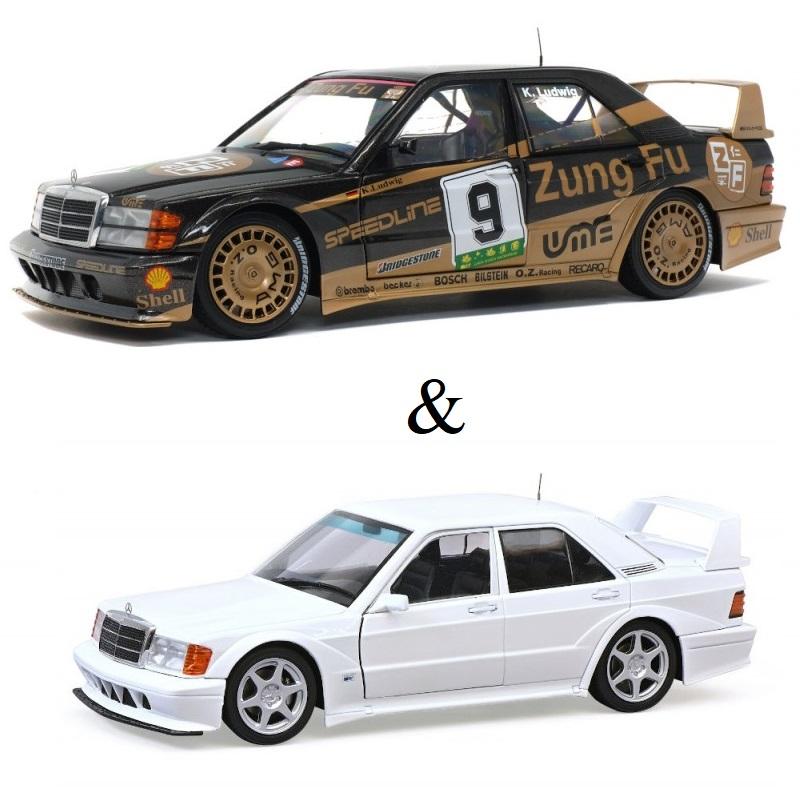 PACK : Macheta auto Mercedes-Benz 190E alb 1990 editie limitata + Mercedes-Benz 190 EVO II (W201) GP Macau - K.LUDWIG #9 1991, 1:18 Solido