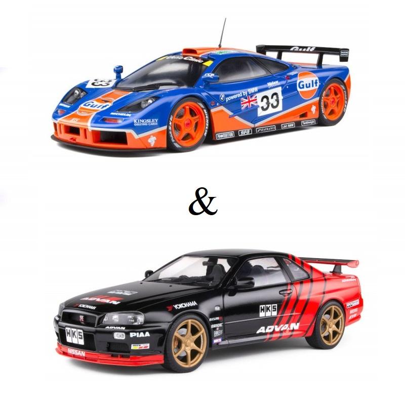 PACK : Macheta auto McLaren F1 GTR Short taill 24H Le Mans #33 1996 + Nissan GTR R34 negru 1999, 1:18 Solido