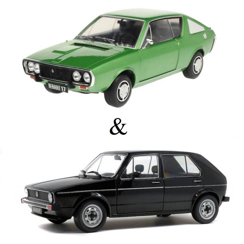 PACK : Macheta auto Renault R17 MK1 verde 1976 + Volkswagen Golf L 1983 Negru, 1:18 Solido