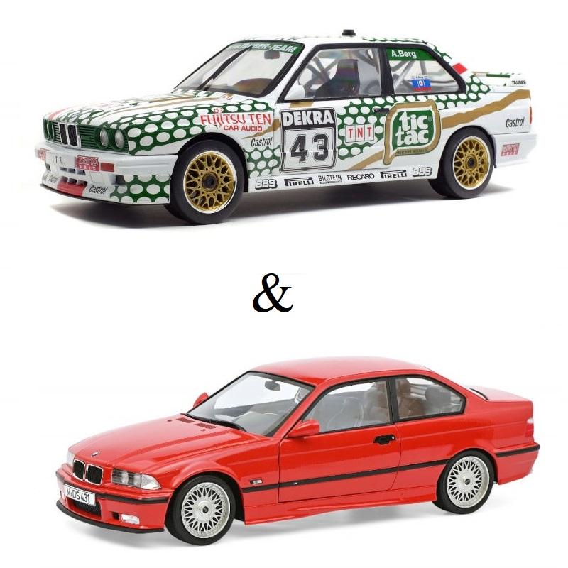 PACK : Macheta auto BMW E36 M3 rosu 1994 editie limitata + BMW E30 M3 - DTM 1991 – A.BERG, 1:18 Solido