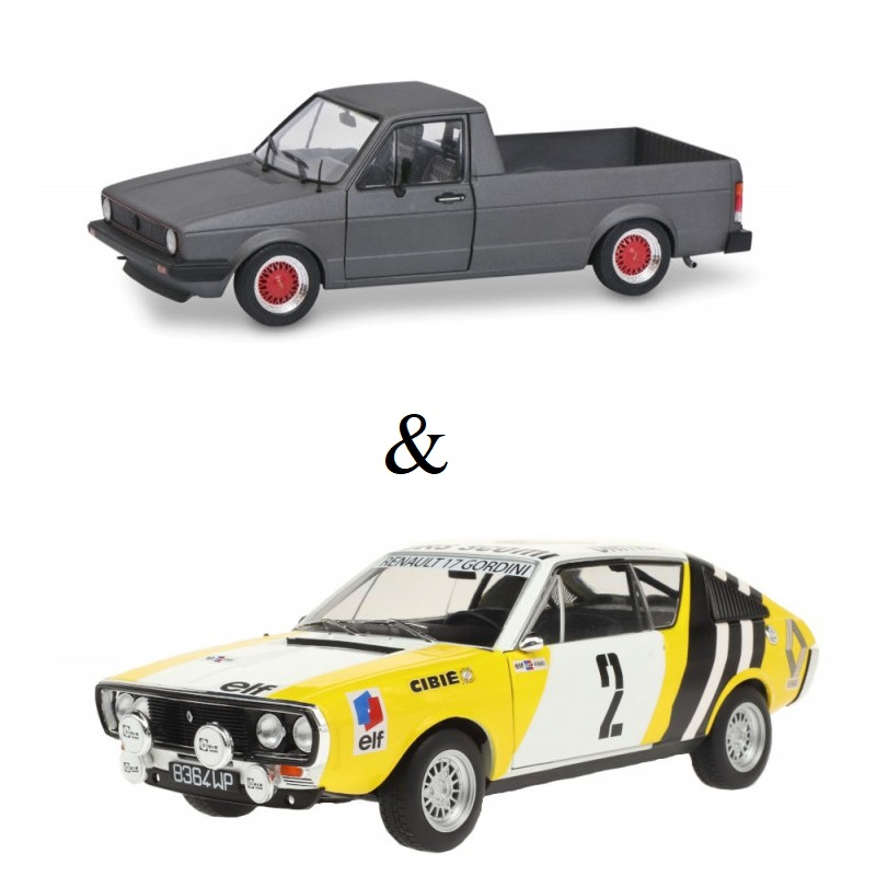 PACK : Macheta auto Renault R17 MK1 Rally Pologne 1976 + Volkswagen Caddy MK1 Custom gri 1982, 1:18 Solido