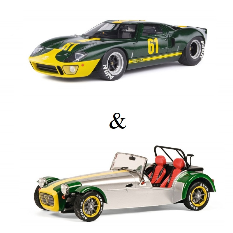 PACK : Macheta auto Ford GT40 MK1 Jim Click Ford Performance Collection verde 1966 + Lotus Seven gri 1989, 1:18 Solido