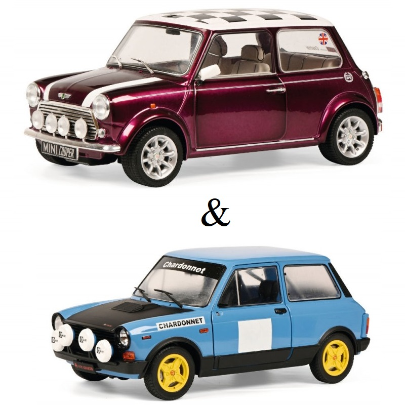 PACK : Macheta auto Mini Cooper Sport mov 1997 + Autobianchi A112 MK5 Abarth Rally 1980, 1:18 Solido
