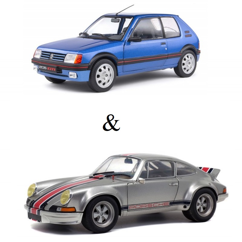 PACK : Macheta auto Porsche 911 RSR – Backdating Outlaw 1973 + Peugeot 205 GTI 1.9L MK 1 albastru 1988, 1:18 Solido