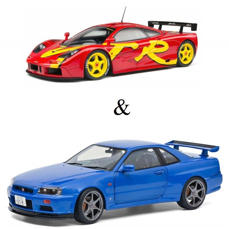 PACK : Macheta auto McLaren F1 GTR Short taill rosu 1996 + Nissan GTR R34 albastru 1999, 1:18 Solido