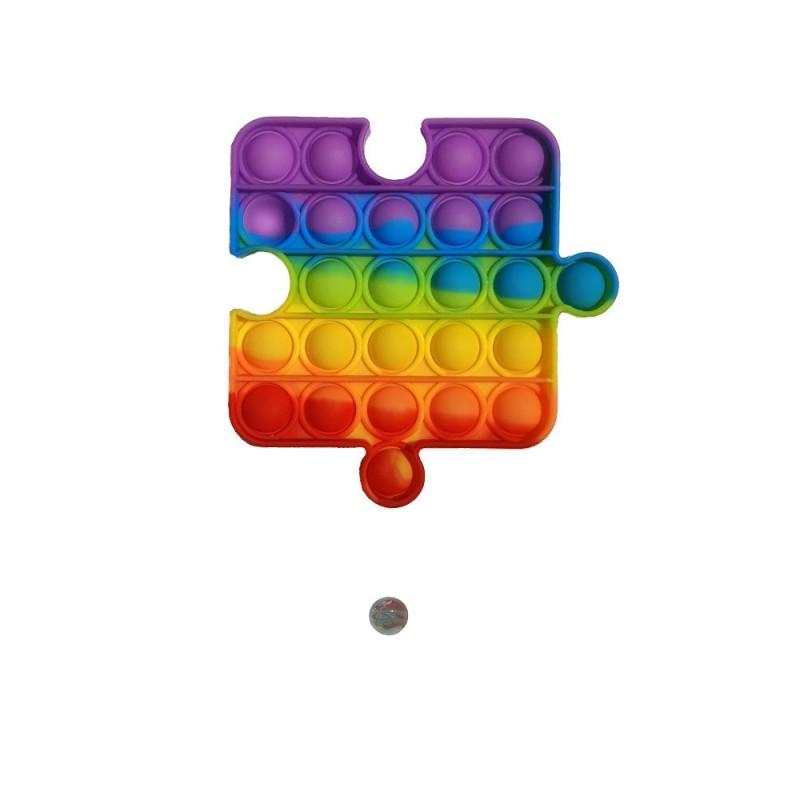 Jucarie senzoriala antistres Pop It + bila sticla, piesa puzzle multicolor curcubeu