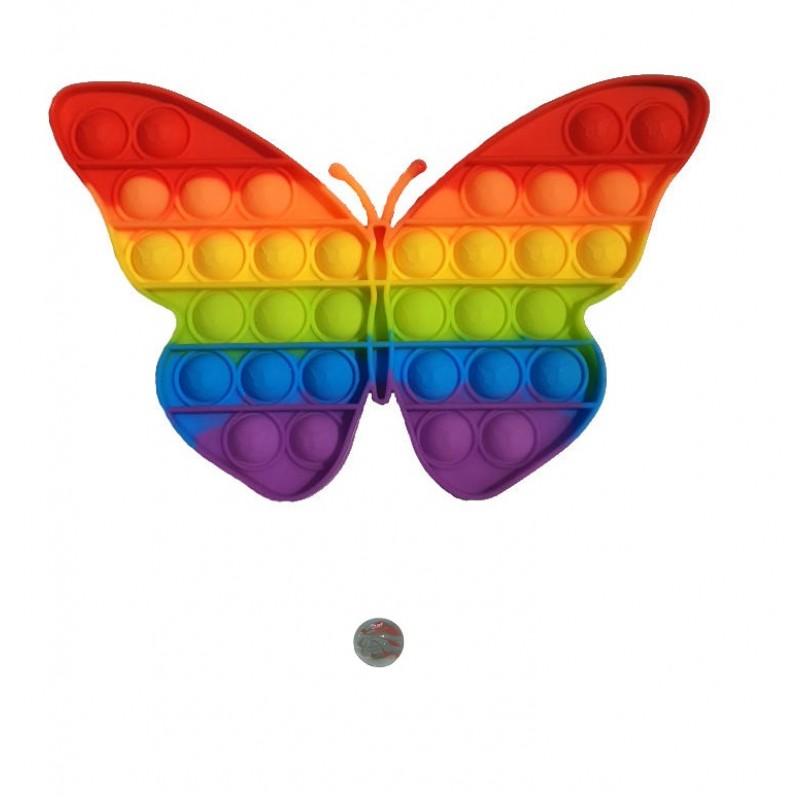 Jucarie senzoriala antistres Pop It + bila sticla, fluture multicolor curcubeu