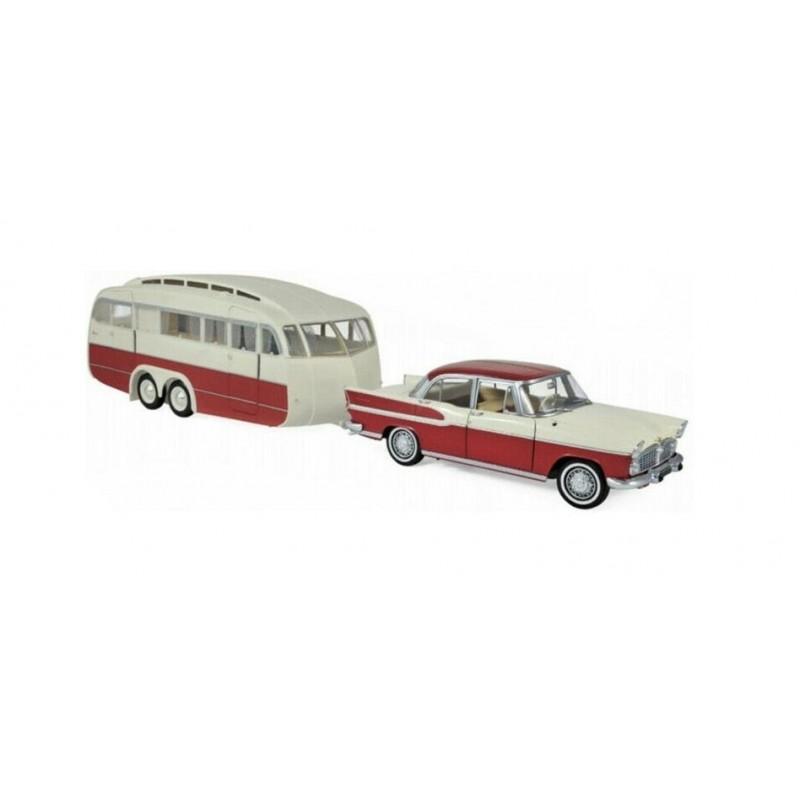 Macheta auto Simca Vedette hambord 1958 & Caravane Henon, 1:18 Norev
