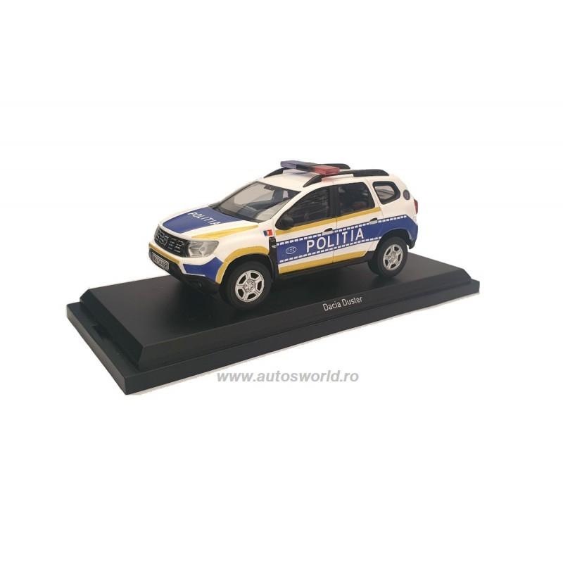 Macheta auto Dacia Duster 2 2018 Politia Romana, 1:43 Custom by autosworld.ro