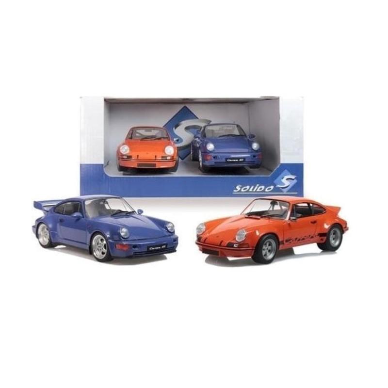 Macheta auto Porsche Pack 911 RSR orange & 964 RS bleu, 1:18 Solido